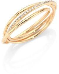 EF Collection - Interlocking Diamond & 14k Yellow Gold Eternity Ring - Lyst