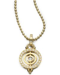 Temple St. Clair - Royal Blue Moonstone & 18k Gold Dual Ring Pendant - Lyst