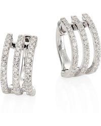 EF Collection - Multi Huggie Diamond & 14k White Gold Earrings - Lyst