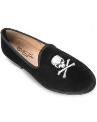 be93cb4ff79fd Del Toro - Women's Velvet Skull & Bone Loafers - Black - Size 11 - Lyst