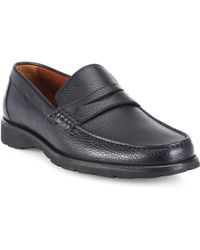 A.Testoni - Pebbled Leather Penny Loafers - Lyst