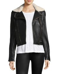 Lamarque - Donna Shearling & Leather Biker Jacket - Lyst