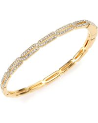 Adriana Orsini - Pave Crystal Long Hexagon Bangle Bracelet/goldtone - Lyst