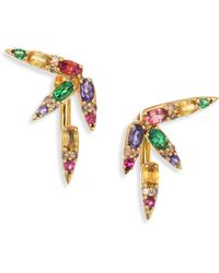 Nikos Koulis - Spectrum Brown Diamond, Tsavorite, Iolite, Pink Tourmaline, Yellow Beryls & Rhodolite Ear Jacket & Stud Earrings Set - Lyst