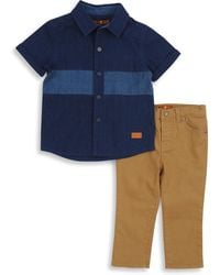 7 For All Mankind - Baby's Two-piece Collared Shirt & Pants Set - Lyst