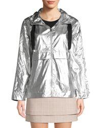 Maje - Short Metallic Waterproof Coat - Lyst