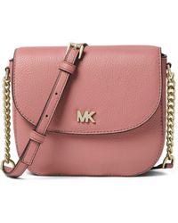 2cbc789c80 Michael Michael Kors Half Dome Leather Crossbody Bag in Pink - Lyst