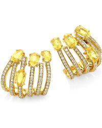 Hueb - Spectrum Diamond & Yellow Sapphire Hoop Earrings - Lyst