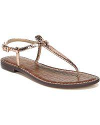 e760e12730ee5 Sam Edelman - Gigi Rose Gold Boa Snake Print Leather Thong Sandals - Lyst