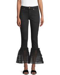 Tu Es Mon Tresor - Tulle Frill Flared Jeans - Lyst