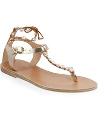 Ancient Greek Sandals - Chrysso Pearls Leather Sandals - Lyst