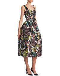 Oscar de la Renta - Sleeveless Jungle-print Dress - Lyst