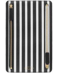 Smythson Panama Striped Leather Currency Case - Black