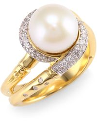 John Hardy - Bamboo 4.5mm-14mm Mother Of Pearl, Sterling Silver & 14k Yellow Gold Ring - Lyst