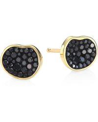 Plevé - Petite Black Diamond Pebble Stud Earrings - Lyst