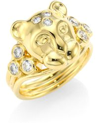 Temple St. Clair - Large Lion Cub Diamond & 18k Yellow Gold Ring - Lyst