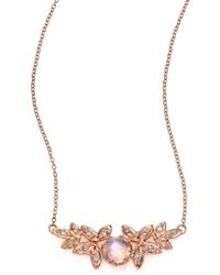 Jacquie Aiche - Moonstone, Diamond & 14k Rose Gold Leaves Necklace - Lyst