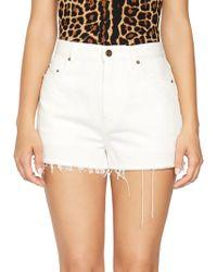 Saint Laurent - Frayed Denim Shorts - Lyst