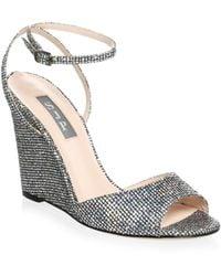 SJP by Sarah Jessica Parker - Boca Glitter Wedge Sandals - Lyst