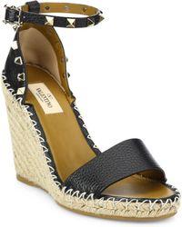 Valentino - Rockstud Espadrille Wedge Sandals - Lyst