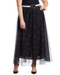Marina Rinaldi - , Plus Size Women's Marina Sport Star Print Tulle Skirt - Black - Lyst