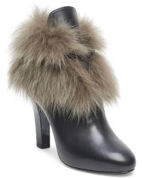 Lanvin - Fox Fur Accented Leather Booties - Lyst