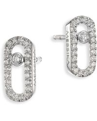 Messika - Move Uno Diamond & 18k White Gold Stud Earrings - Lyst