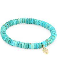 Sydney Evan - Diamond, Sapphire, Turquoise And 14k Gold Owl Charm Beaded Bracelet - Lyst
