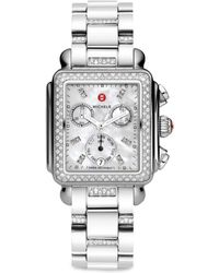 Michele Watches - Deco 18 Diamond, Mother-of-pearl & Stainless Steel Bracelet Watch - Lyst