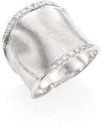 Marco Bicego - Lunaria Medium Diamond & 18k White Gold Ring - Lyst