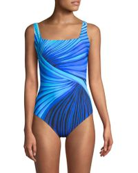 Gottex - Abstract Printed Squareneck One-piece - Lyst