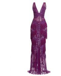 Zuhair Murad Fringed Blossom V-neck Gown - Purple