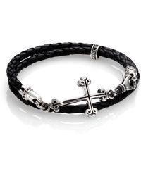 King Baby Studio - Cross Double-wrap Leather Bracelet - Lyst
