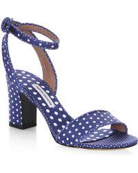 Tabitha Simmons - Leticia Polka Dot Block Heel Cotton Sandals - Lyst