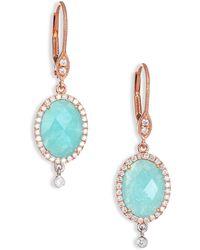 Meira T | Light Amazonite, Diamond, 14k Rose & White Gold Drop Earrings | Lyst