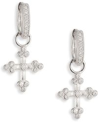 Jude Frances - Provence Tiny Cross Diamond & 18k White Gold Earring Charms - Lyst