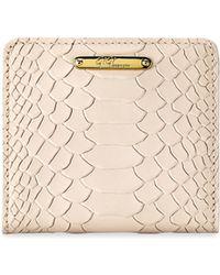 Gigi New York - Mini Python-embossed Leather Bi-fold Wallet - Lyst