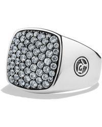 David Yurman - Pave Gray Sapphire Signet Ring - Lyst