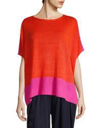 Eileen Fisher - Linen Colorblock Top - Lyst