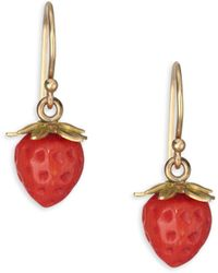 Annette Ferdinandsen - Red Coral & 18k Yellow Gold Strawberry Post Earrings - Lyst