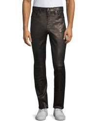 J Brand - Men's Mick Skinny-fit Leather Trousers - Washed Black - Lyst