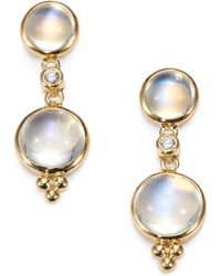 Temple St. Clair - Royal Blue Moonstone, Diamond & 18k Yellow Gold Double-drop Earrings - Lyst