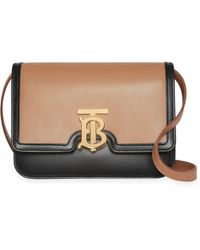 7f88e27f811c Lyst - Burberry Zip Buckle Leather Crossbody Bag in Natural