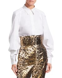 Sara Battaglia - Long-sleeve Poplin Full-sleeve Button-down Shirt - Lyst