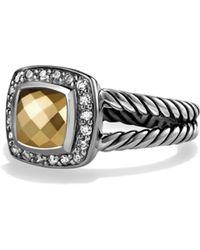 David Yurman - Petite Albion Ring With Gold Dome And Diamonds - Lyst