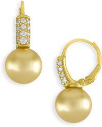 Majorica | 10mm Champagne Pearl & Crystal Drop Earrings | Lyst