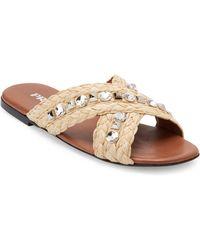 Prada - Jeweled Raffia Slides - Lyst