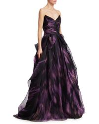 Pamella Roland - Printed Mesh Organza Ball Gown - Lyst