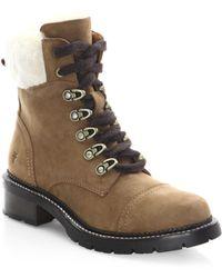 Frye | Samantha Shearling & Nubuck Hiker Boots | Lyst