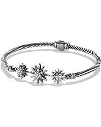 David Yurman - Starburst Three-station Cable Bracelet With Diamonds - Lyst
